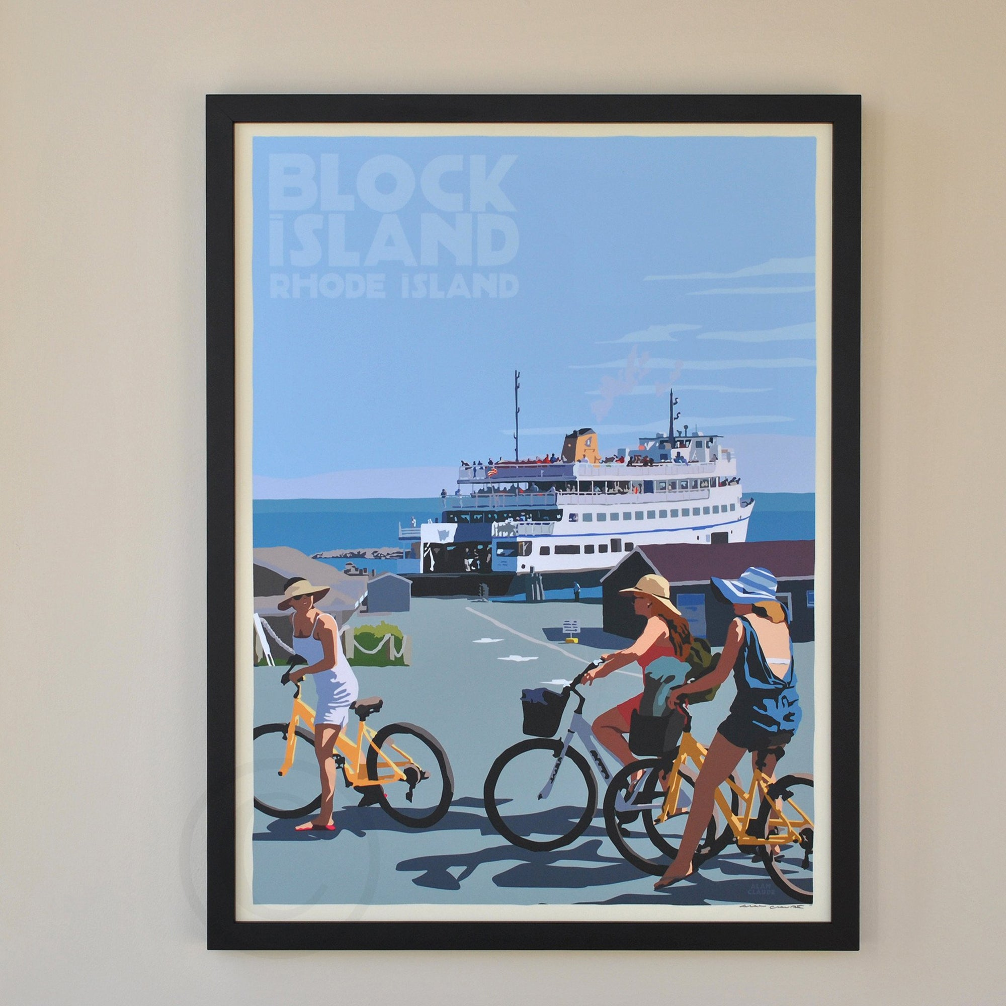 "Block Island Bicycle Girls Art Print 18"" x 24"" Framed Travel Poster - Rhode Island"