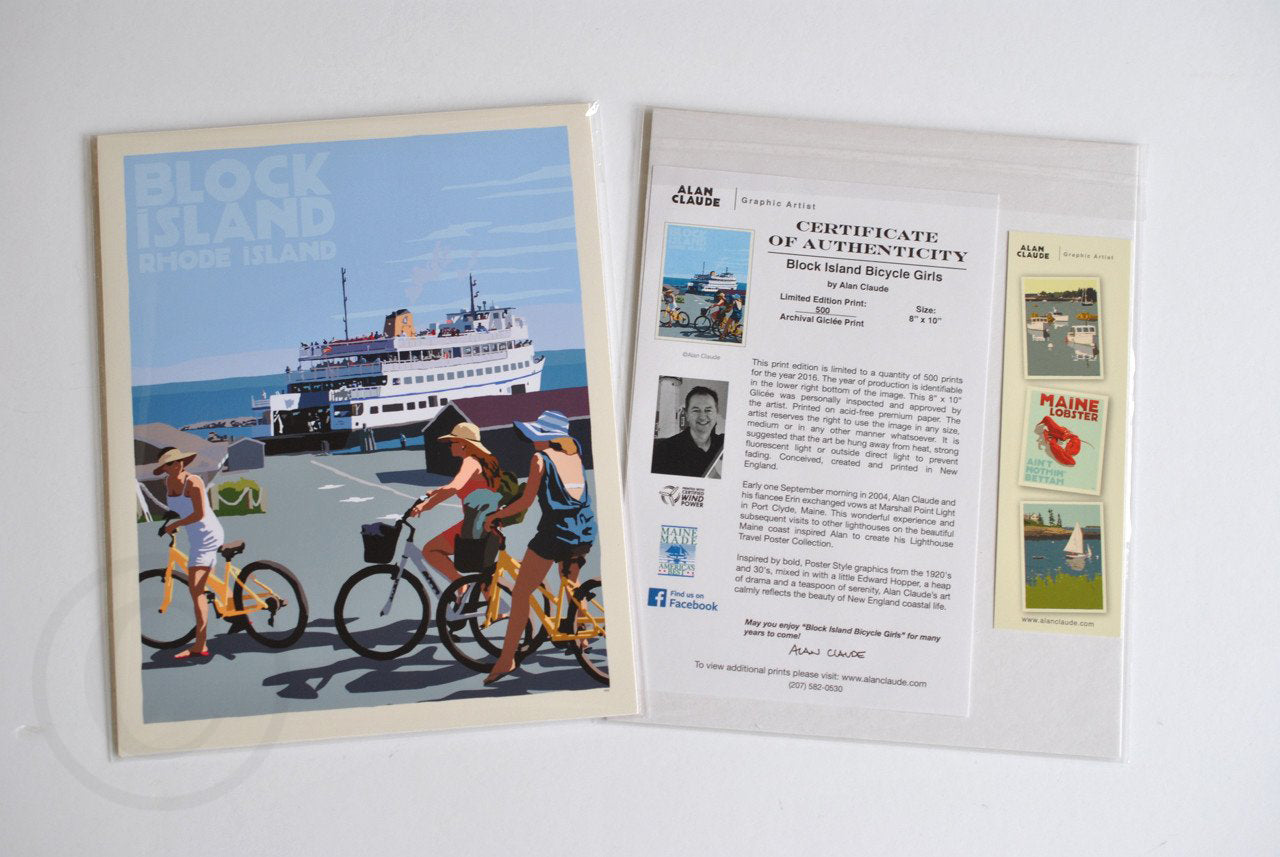 "Block Island Bicycle Girls Art Print 8"" x 10"" Travel Poster - Rhode Island"
