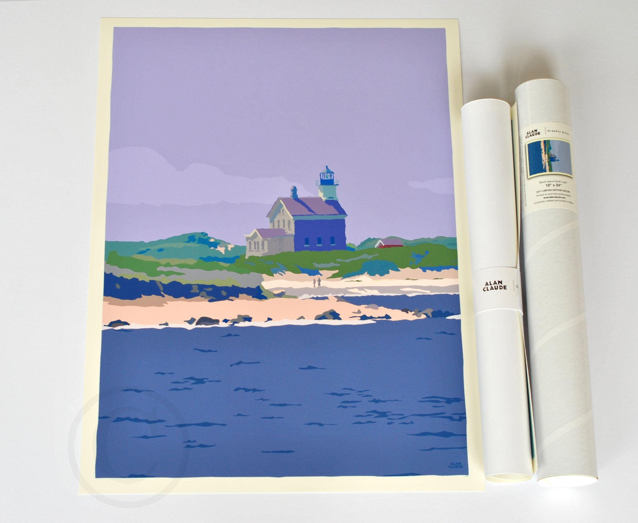 "Block Island North Light Art Print 18"" x 24"" Wall Poster - Rhode Island"