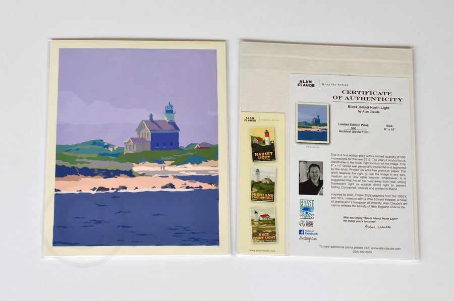 "Block Island North Light Art Print 8"" x 10"" Wall Poster - Rhode Island"