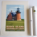 "Block Island Southeast Light Art Print 18"" x 24"" Travel Poster - Rhode Island"