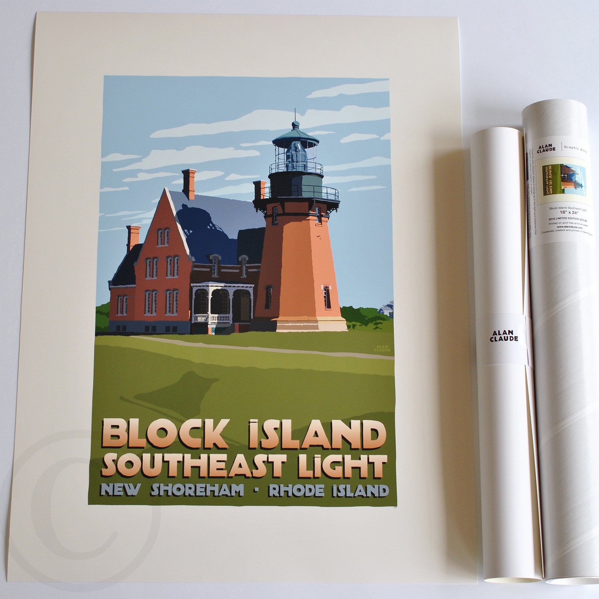 Block Island Southeast Light Art Print 18 X 24 Travel Poster