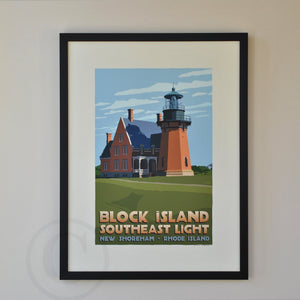"Block Island Southeast Light Art Print 18"" x 24"" Framed Travel Poster - Rhode Island"