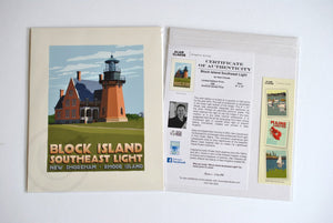 "Block Island Southeast Light Art Print 8"" x 10"" Travel Poster - Rhode Island"