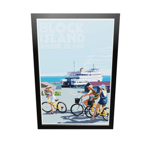 "Block Island Bicycle Girls Art Print 24"" x 36"" Framed Travel Poster - Rhode Island"