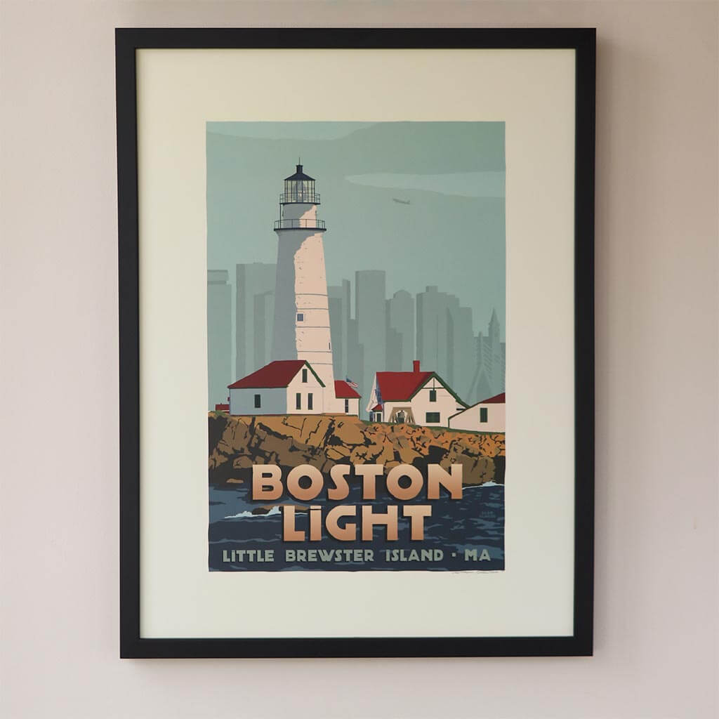"Boston Light Art Print 18"" x 24"" Framed Travel Poster - Massachusetts"