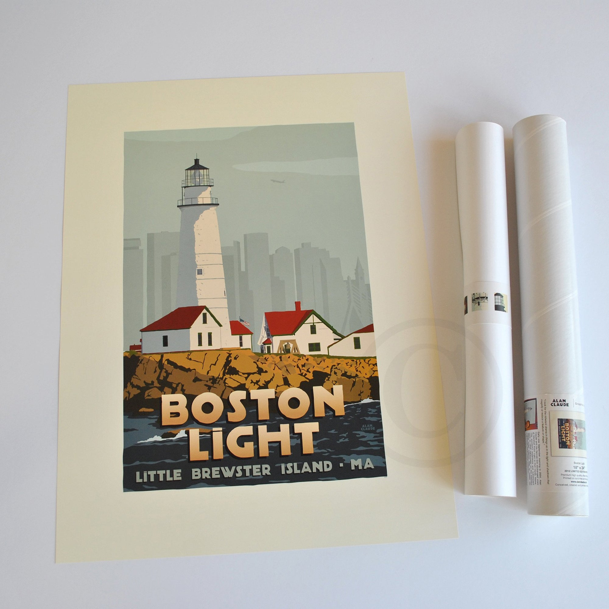 "Boston Light Art Print 18"" x 24"" Travel Poster - Massachusetts"