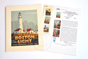 "Boston Light Art Print 8"" x 10"" Travel Poster - Massachusetts"