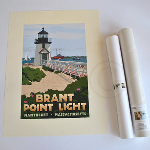 "Brant Point Light Art Print 18"" x 24"" Travel Poster - Massachusetts"