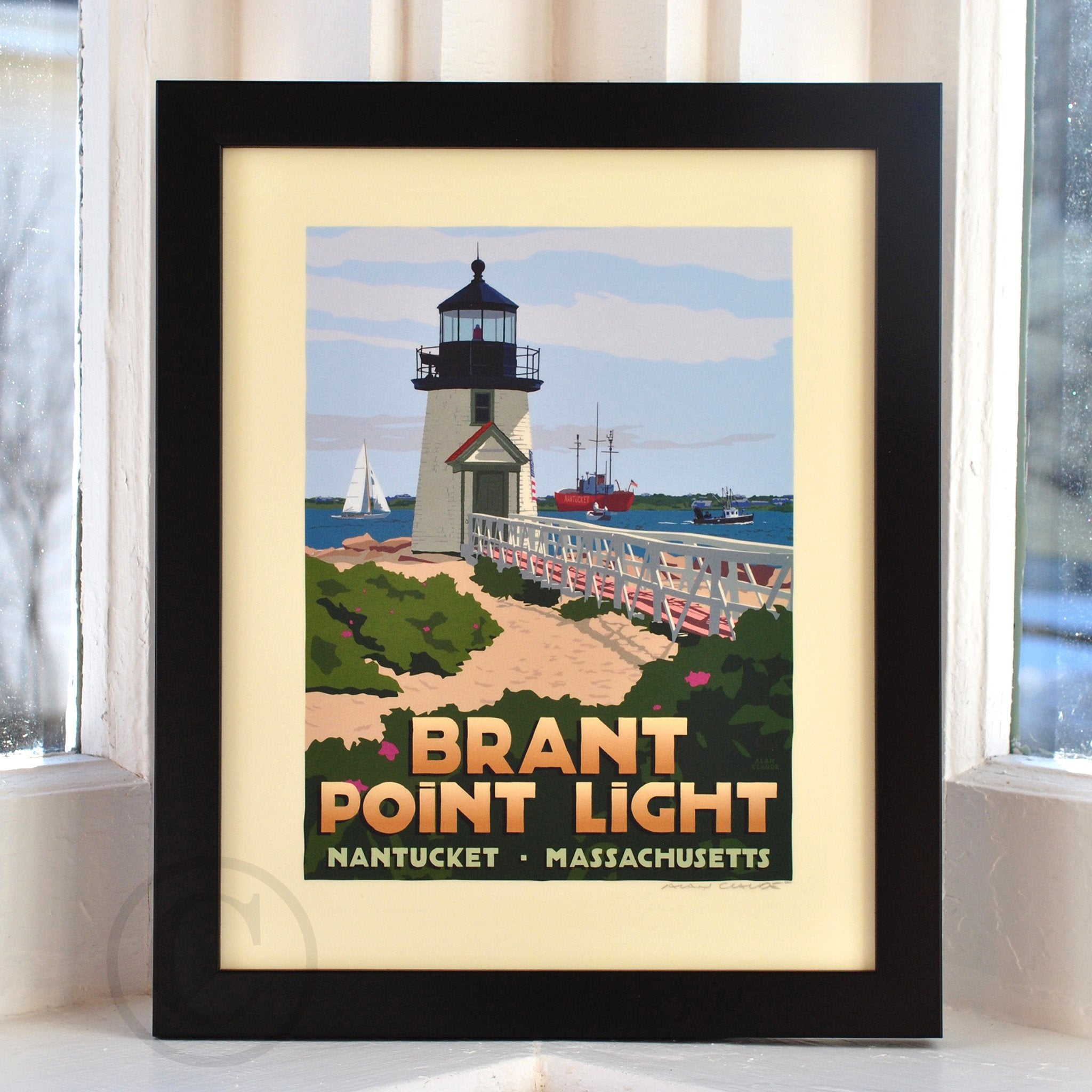 "Brant Point Light Art Print 8"" x 10"" Framed Travel Poster - Massachusetts"