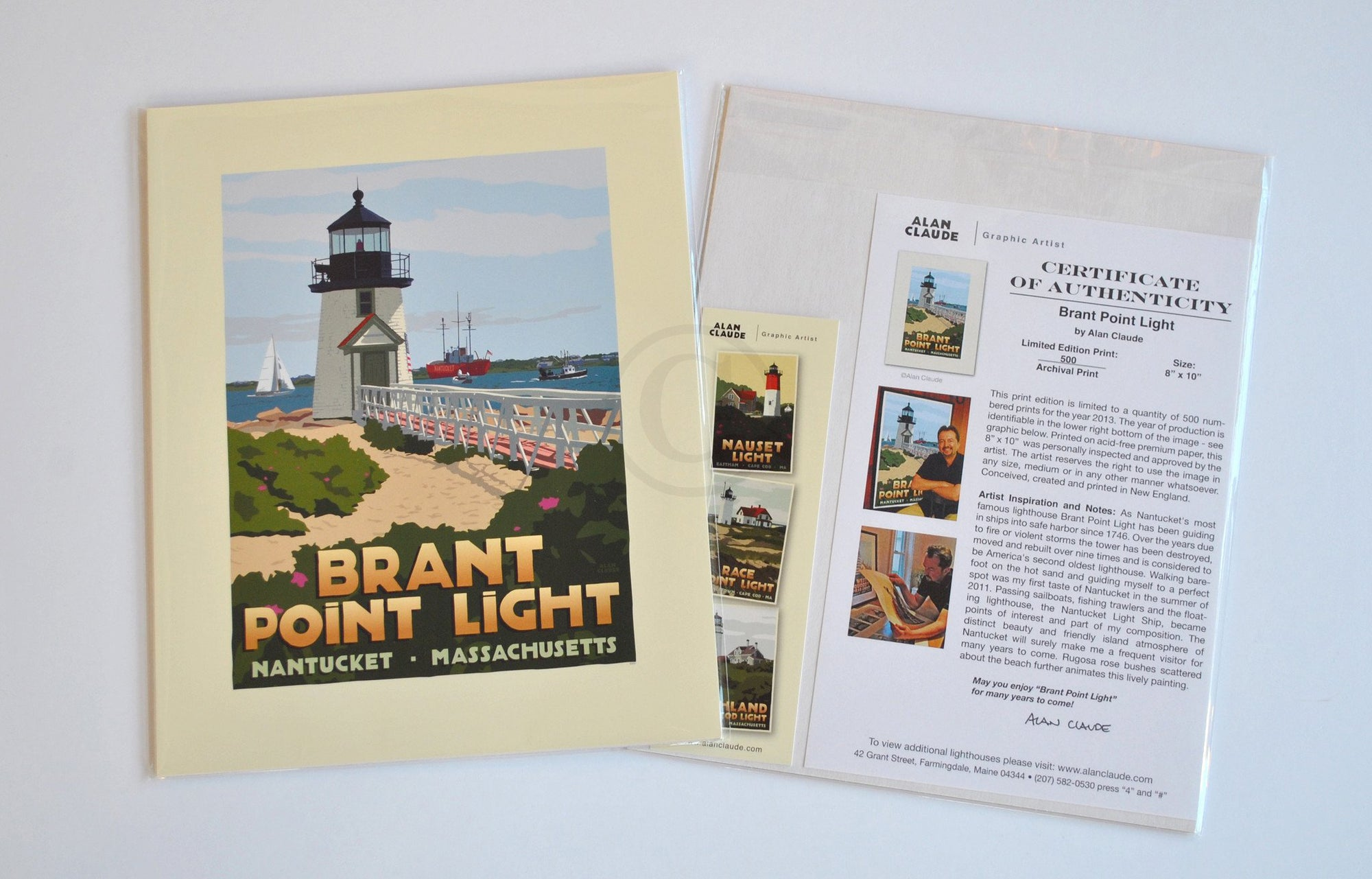 "Brant Point Light Art Print 8"" x 10"" Travel Poster - Massachusetts"