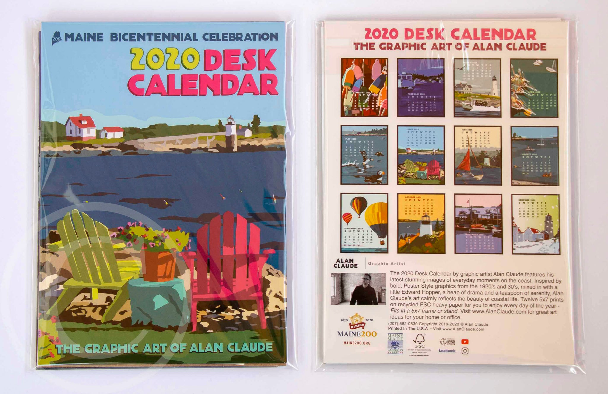 2020 DESK Art Calendar 5x7 retro vintage art desk style by Alan Claude