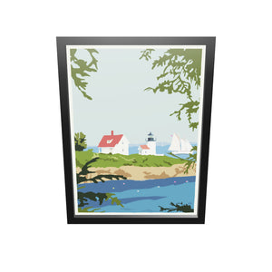 "Camden Lighthouse Art Print 18"" x 24"" Framed Wall Poster - Maine By Alan Claude"