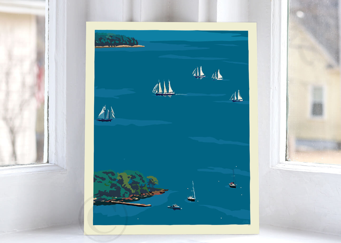 "Schooners in Camden Harbor Art Print 8"" x 10"" Wall Poster - Maine By Alan Claude"