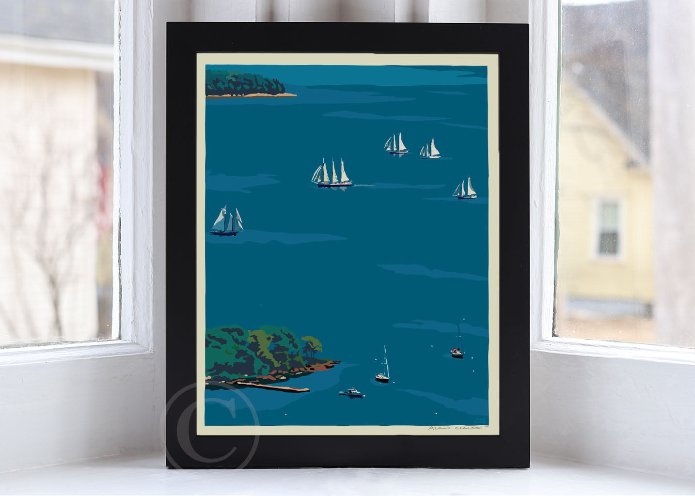 "Schooners in Camden Harbor Art Print 8"" x 10"" Framed Wall Poster - Maine By Alan Claude"