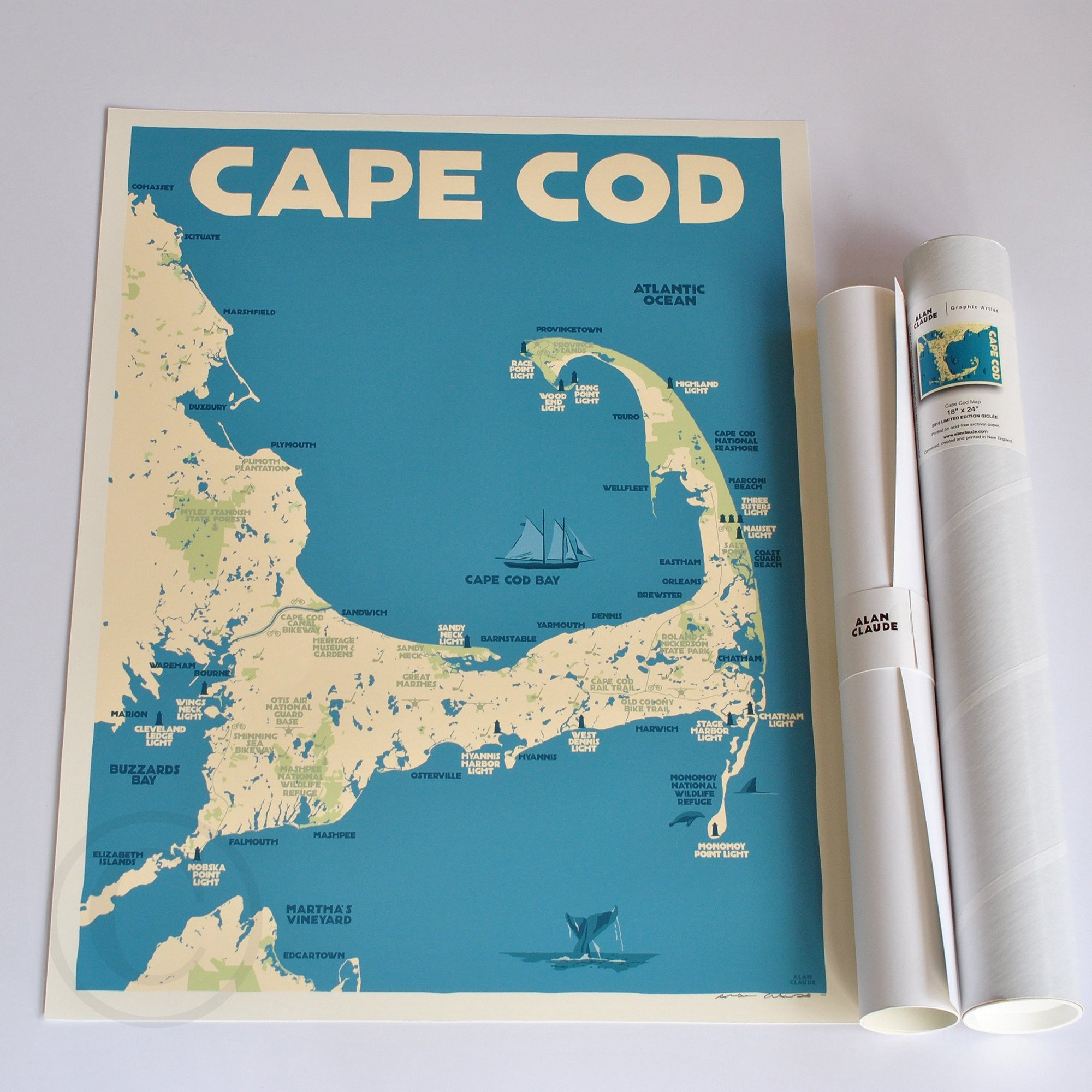 "Cape Cod Map Art Print 18"" x 24"" Travel Poster - Massachusetts"