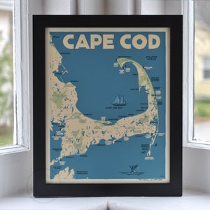 "Cape Cod Map Art Print 8"" x 10"" Framed Travel Poster - Massachusetts"