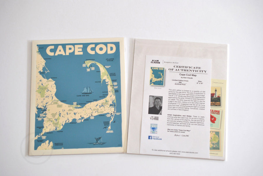 "Cape Cod Map Art Print 8"" x 10"" Travel Poster - Massachusetts"