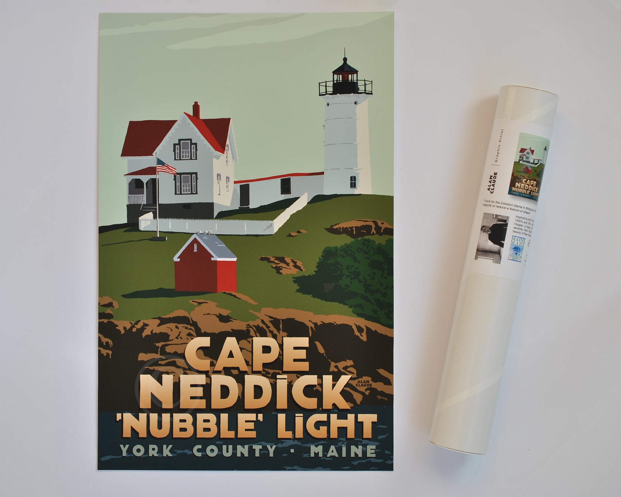 "Cape Neddick Nubble Light Art Print 11"" x 17"" Travel Poster - Maine"