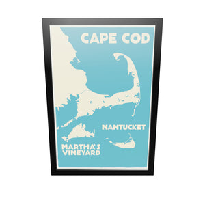 "Cape Cod, Martha's Vineyard, Nantucket Map Art Print 24"" x 36"" Framed Travel Poster - Massachusetts"