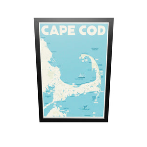 "Cape Cod Map Art Print 24"" x 36"" Framed Travel Poster - Massachusetts"