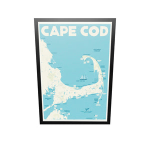 "Cape Cod Map Art Print 36"" x 53"" Framed Travel Poster - Massachusetts"