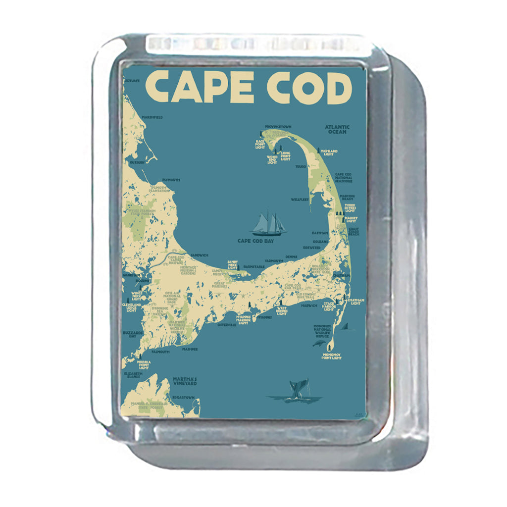 "Cape Cod Map 2"" x 2 3/4"" Acrylic Magnet - Massachusetts"