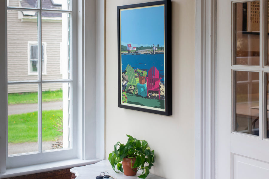 "Chairs Overlooking Ram Island Art Print `18 x 24"" Framed Wall Poster"