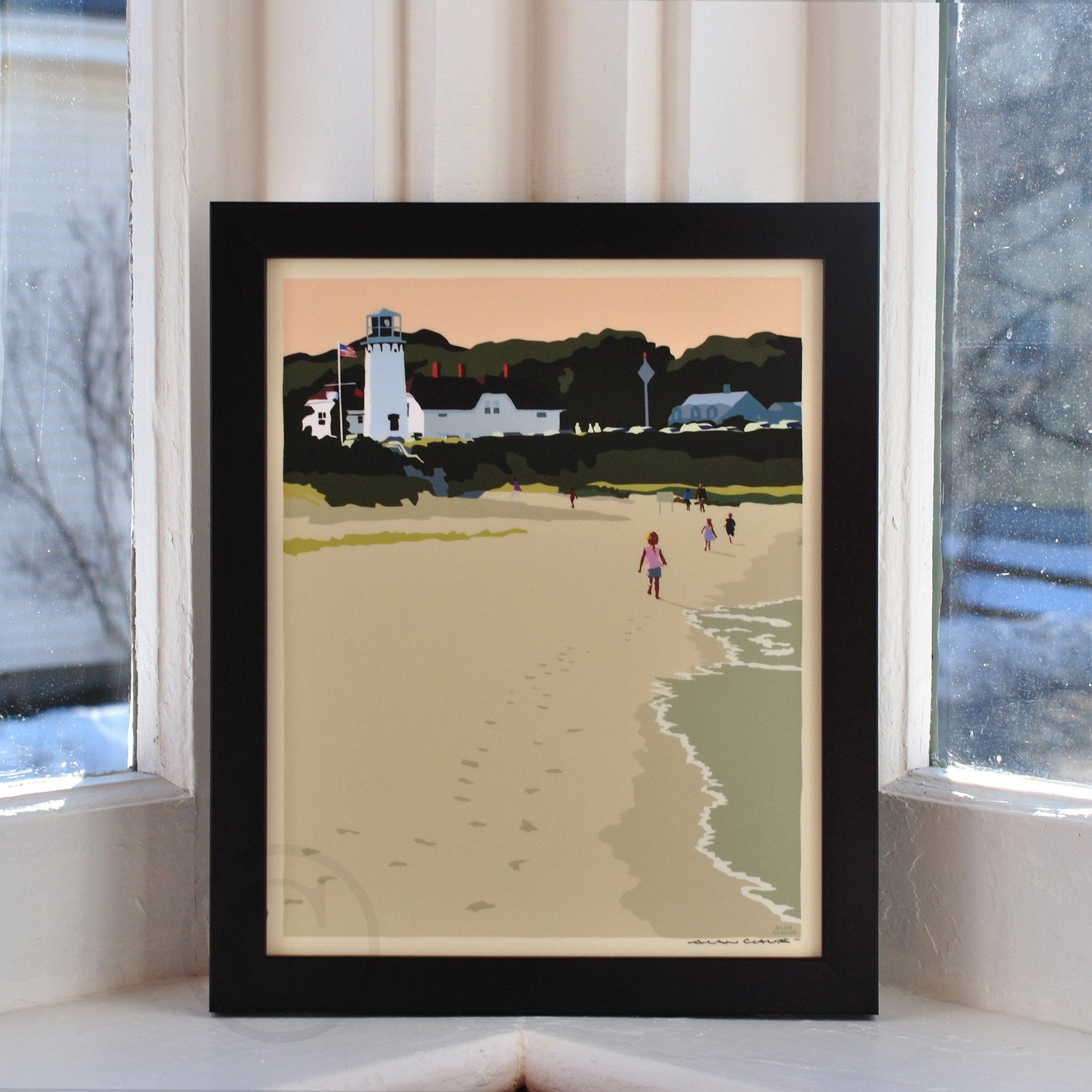 "Chatham Lighthouse Kids Art Print 8"" x 10"" Framed Wall Poster - Massachusetts"