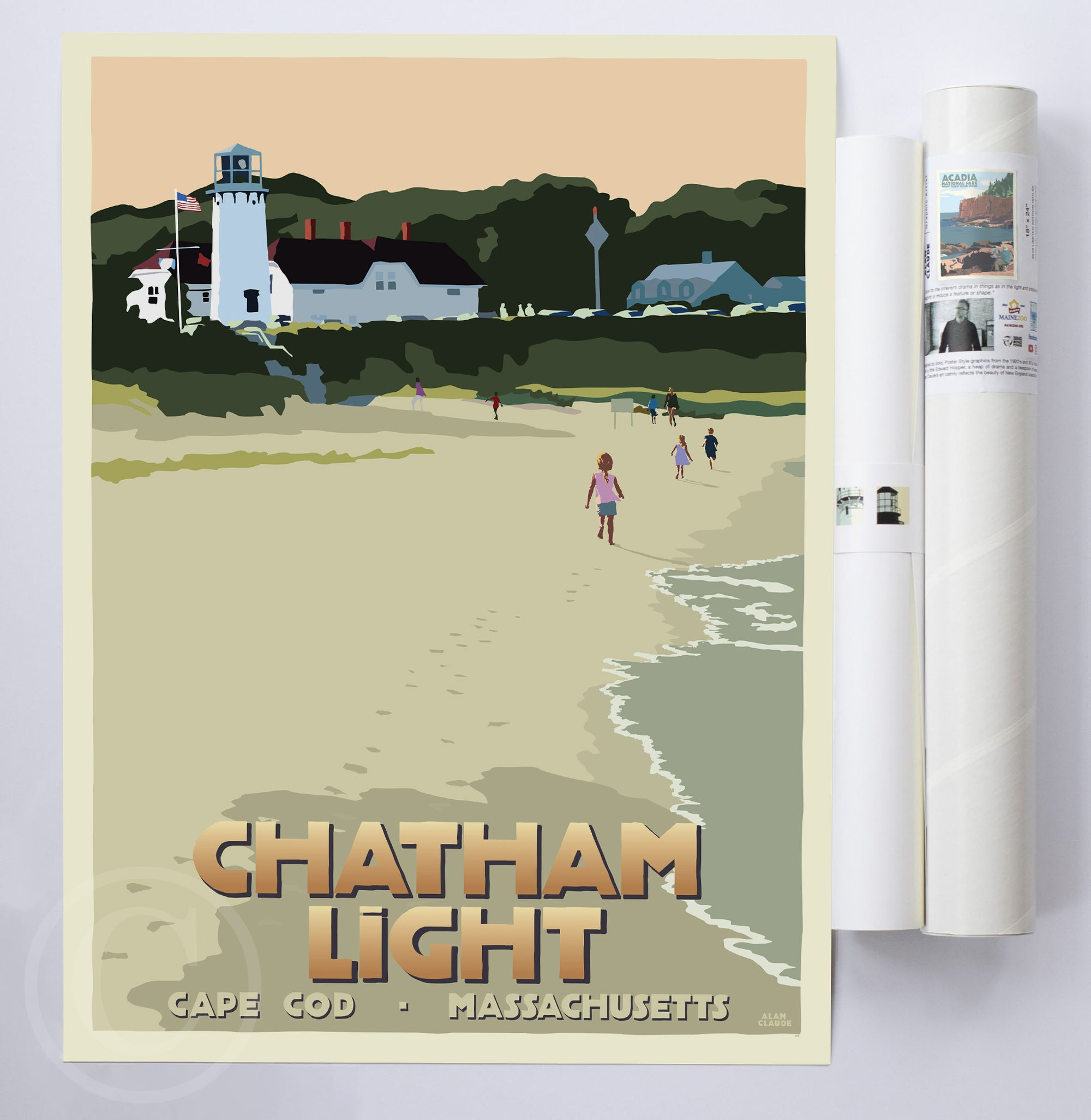 "Chatham Lighthouse Kids Art Print 18"" x 24"" Travel Poster - Massachusetts"