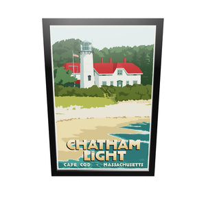 "Chatham Light Art Print 24"" x 36"" Framed Travel Poster - Massachusetts"