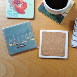 Lobster Buoys Art Drink Coaster - Maine