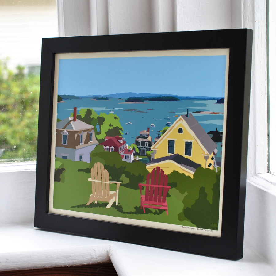 "Stonington Harbor Art Print 8"" x 10"" Framed Wall Poster - Maine"