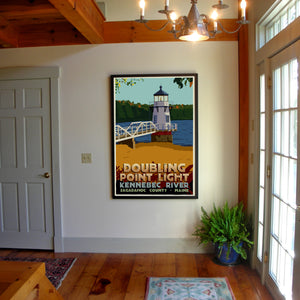 "Doubling Point Light Art Print 36"" x 53"" Framed Travel Poster - Maine"