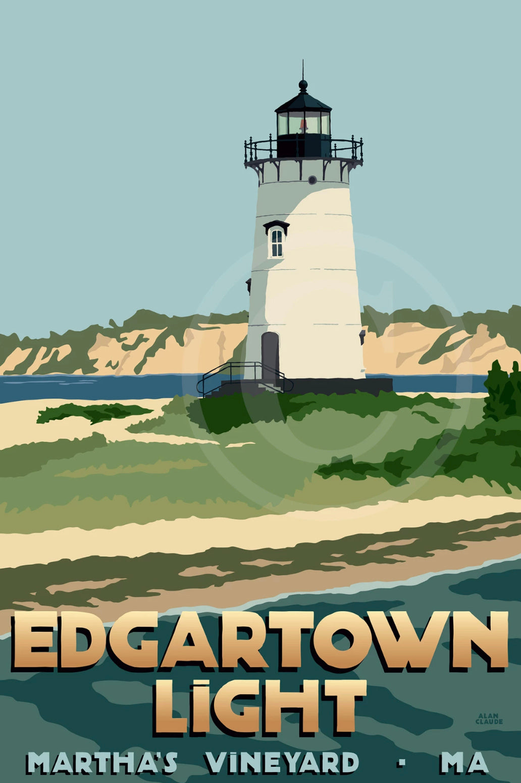 "Edgartown Light -MV Art Print 11"" x 17"" Travel Poster - MA"