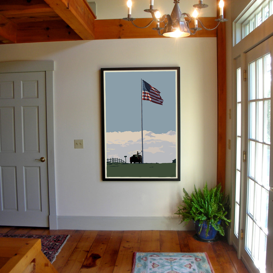 "Flag at Fort Williams Art Print 36"" x 53"" Framed Wall Poster - Maine"