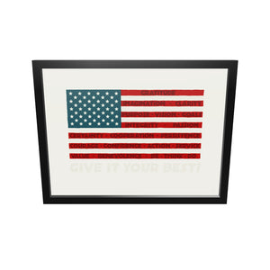 "GIVE IT YOUR VBEST! USA Flag Art Print 18"" x 24"" Framed"