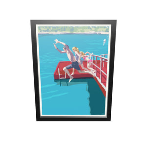 "Go Jump In A Lake Art Print 18"" x 24"" Framed Wall Poster By Alan Claude"
