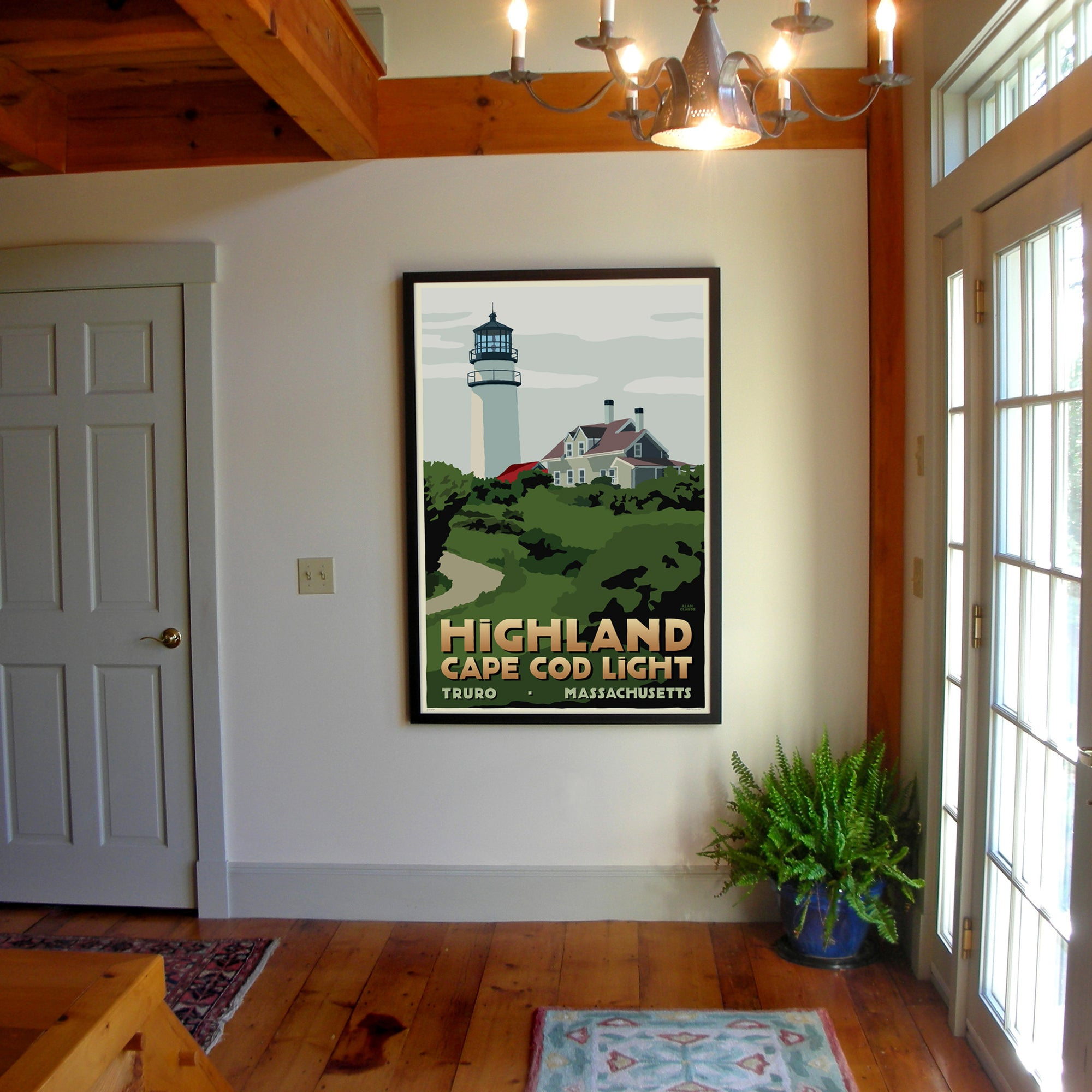 "Highland Light Art Print 36"" x 53"" Framed Travel Poster - Massachusetts"