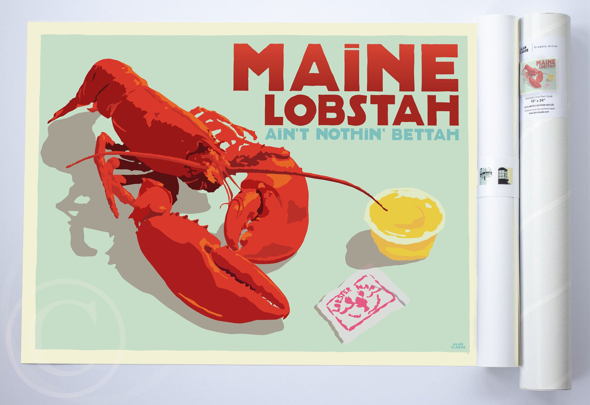 "Maine Lobstah With Butter Art Print (Horizontal) 18"" x 24"" Wall Poster By Alan Claude"