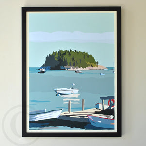 "I Am An Island - vertical format - Art Print 18"" x 24"" Framed Wall Poster - Maine"