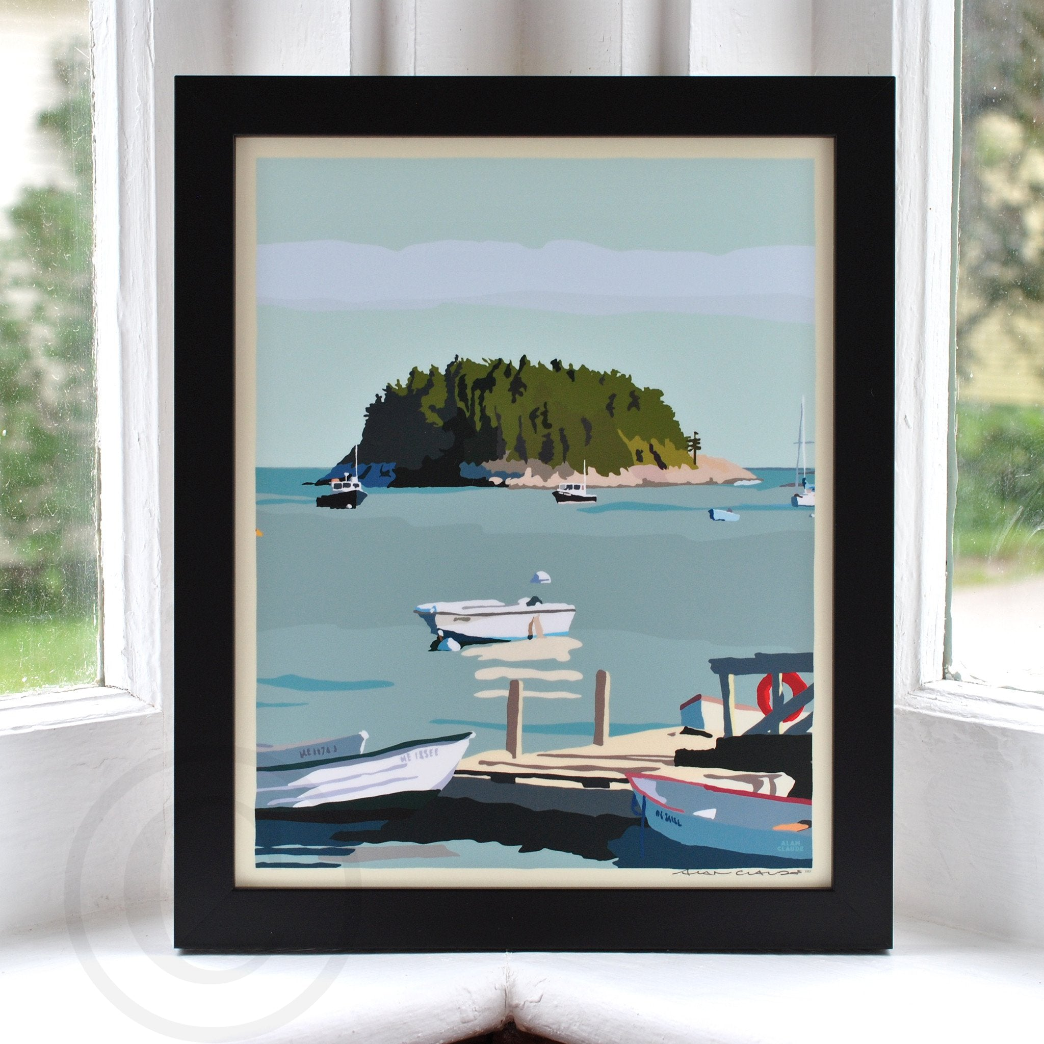 "I Am An Island - vertical format - Art Print 8"" x 10"" Framed Wall Poster - Maine"