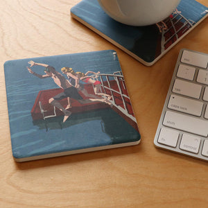 Go Jump In A Lake Art Drink Coaster - Maine