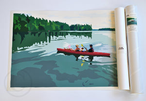 "Kayaking on a Lake Art Print 18"" x 24"" Wall Poster - Maine"
