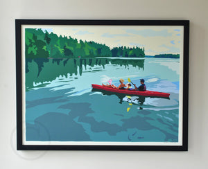 "Kayaking on a Lake Art Print 18"" x 24"" Framed Wall Poster - Maine"
