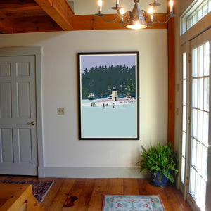 "Ice Skating At Ladies Delight Art Print 36"" x 53"" Framed Wall Poster - Maine"
