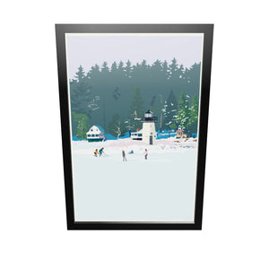 "Ice Skating At Ladies Delight Lighthouse Art Print 24"" x 36"" Framed Wall Poster - Maine"