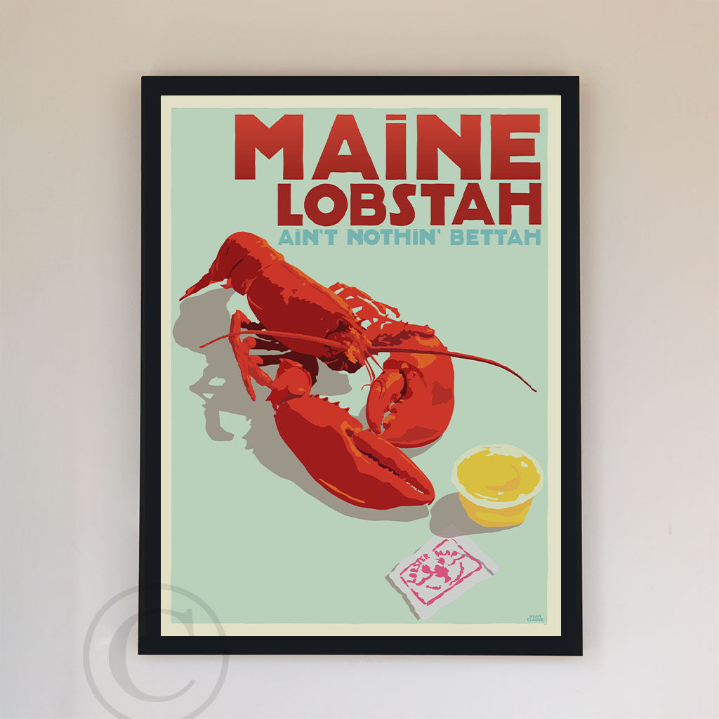 "Maine Lobstah Art Print 18"" x 24"" Framed Wall Poster By Alan Claude"