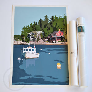 "Lobster Boat at Five Islands Art Print 18"" x 24"" Wall Poster - Maine"