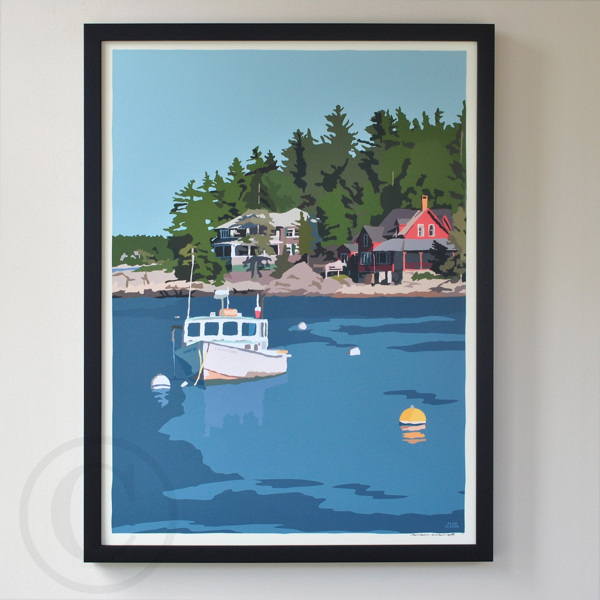 "Lobster Boat at Five Islands Art Print 18"" x 24"" Framed Wall Poster - Maine"